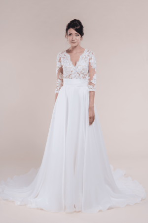 Marissa with detachable organza skirt-Boho Bridal Gown