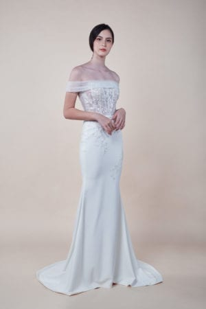 Ember - affordable off-shoulder Bridal Gown for rent in Singapore